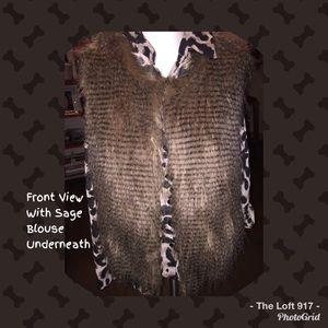 Body Central Faux Long Hair Vest